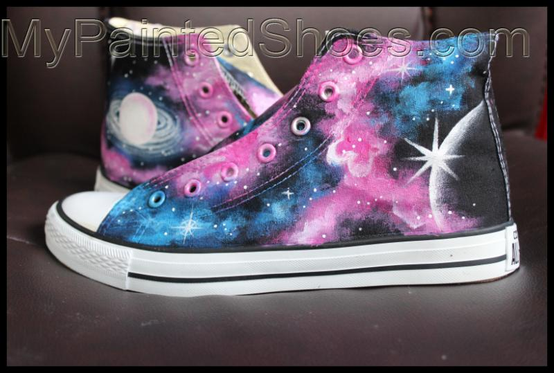 buy popular ff655 99103 Galaxy High Top Converse Shoes Custom Converse Painted Shoes