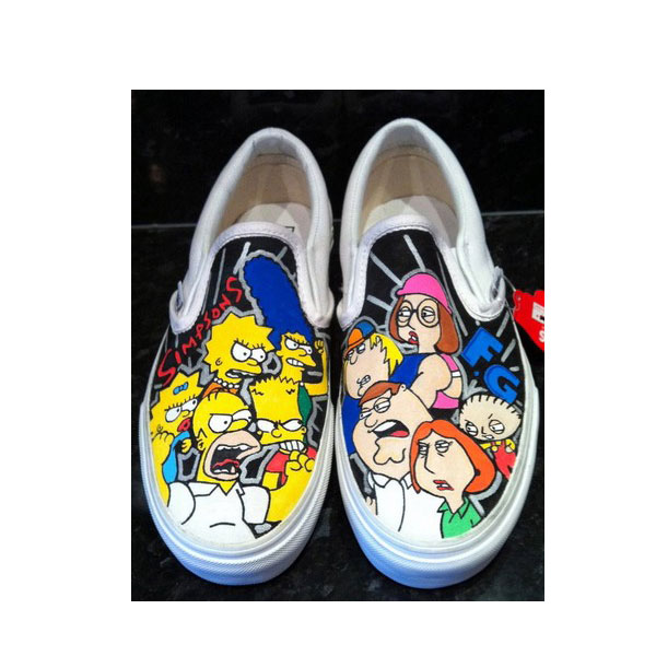 Slip-on Painted Canvas Shoes Simpsons V Family Guy Shoes-1