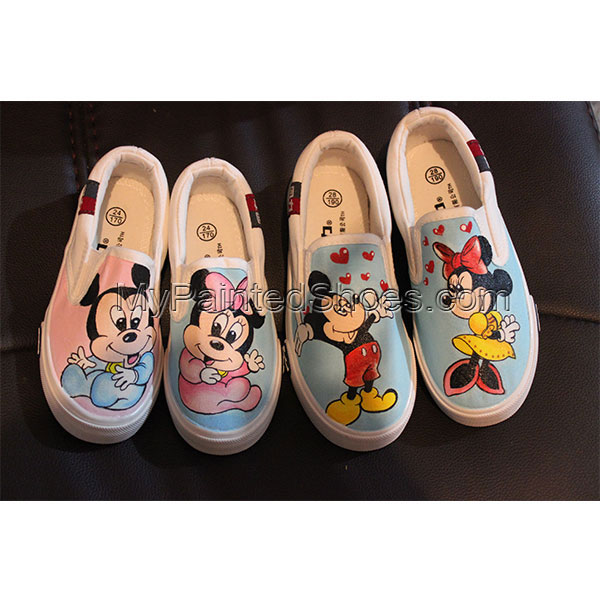 Disney Mickey Minnie Mouse Hand Painted Canvas Shoes-2