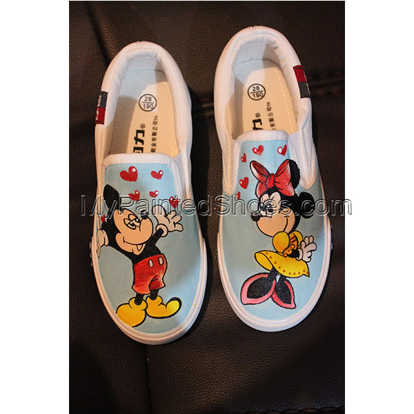 Disney Mickey Minnie Mouse Hand Painted Canvas Shoes