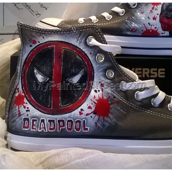 Deadpool custom hand painted shoes , Deadpool Converse , hand pa-2