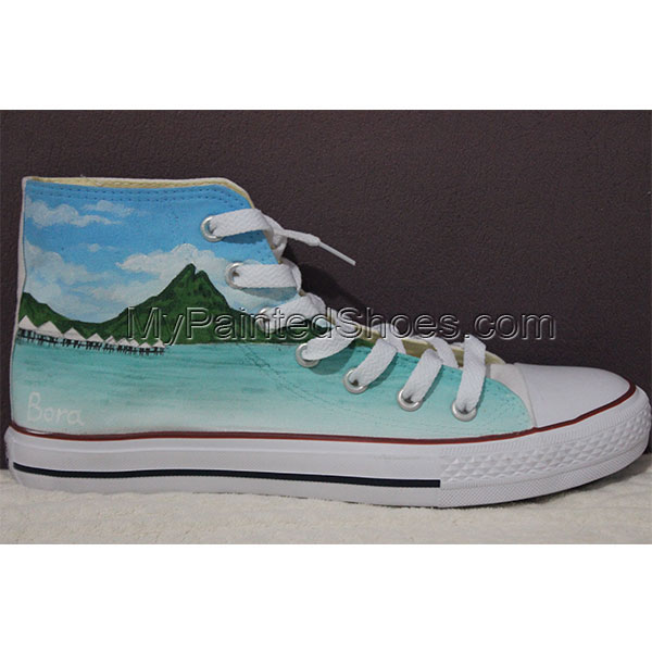 custom High-top Painted Canvas Shoes nature theme-1