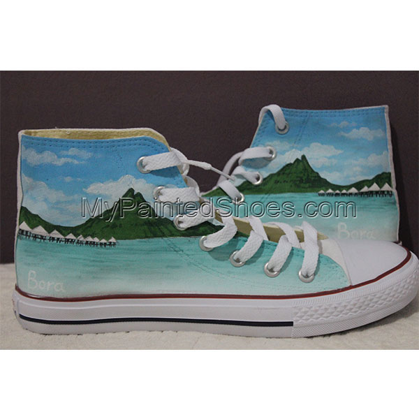 custom High-top Painted Canvas Shoes nature theme