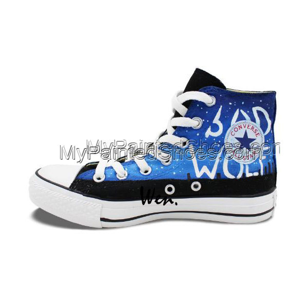 Police Box Doctor Who Men Women Shoes Design Hand Painted Canvas-3