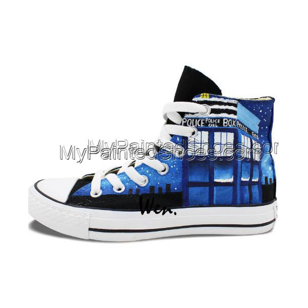 Police Box Doctor Who Men Women Shoes Design Hand Painted Canvas