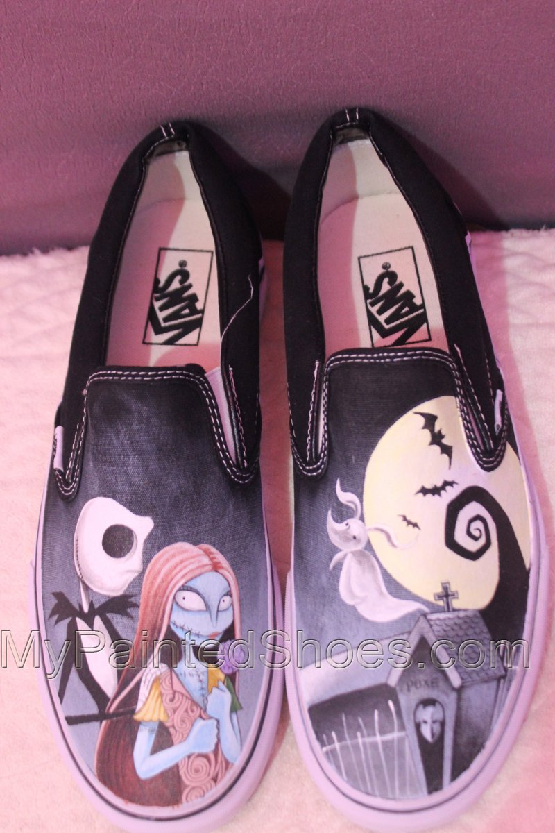 Jack and Sally Vans Custom Painted Nightmare Before Christmas