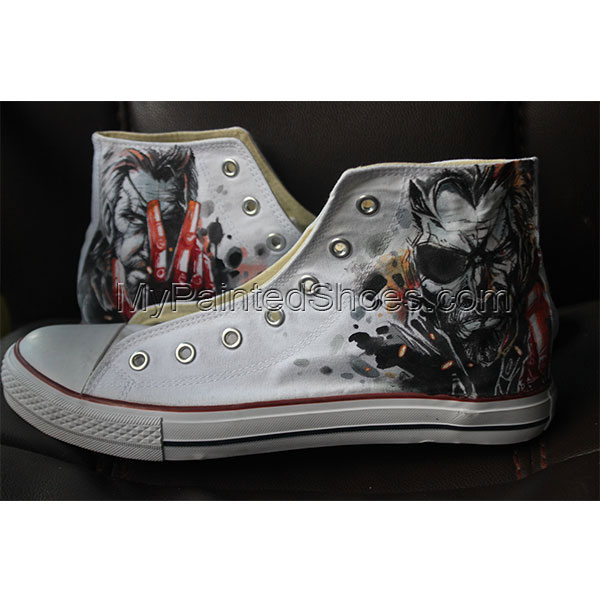 Men Women The Walking Dead Converse Hand Painted Custom Black Ca-1