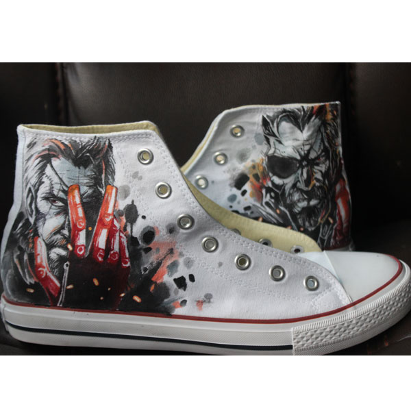 Men Women The Walking Dead Converse Hand Painted Custom Black Ca