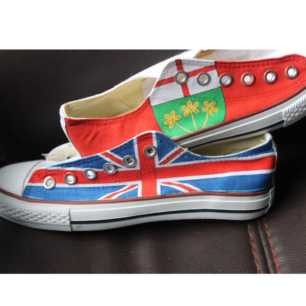 Custom Flag Converse Shoes Canada Flag UK Flag High Top painted