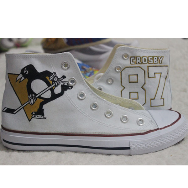 Hand Painted Sidney Crosby Custom Converse High Top Shoes