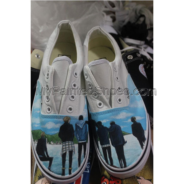 2017 BTS Design Painted Shoes BTS kpop hand painted Vans