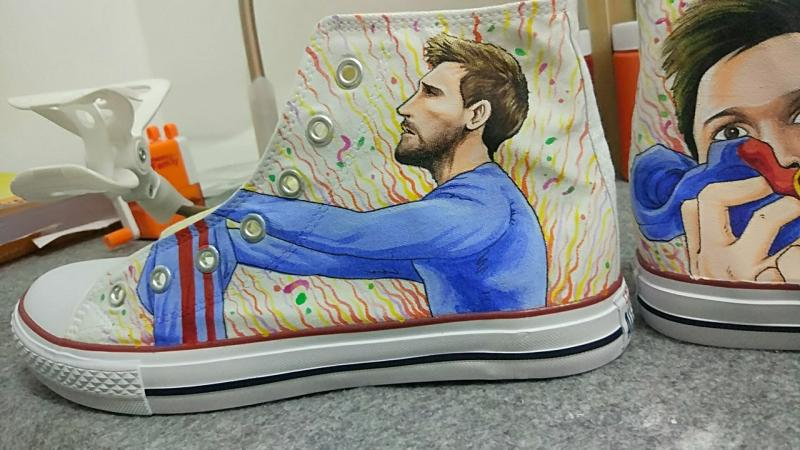 Messi Shoes Messi Painted Converse Shoes for World Cup Messi Fan-2