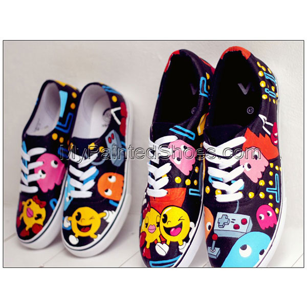 pacman shoes pacman Painted Shoes