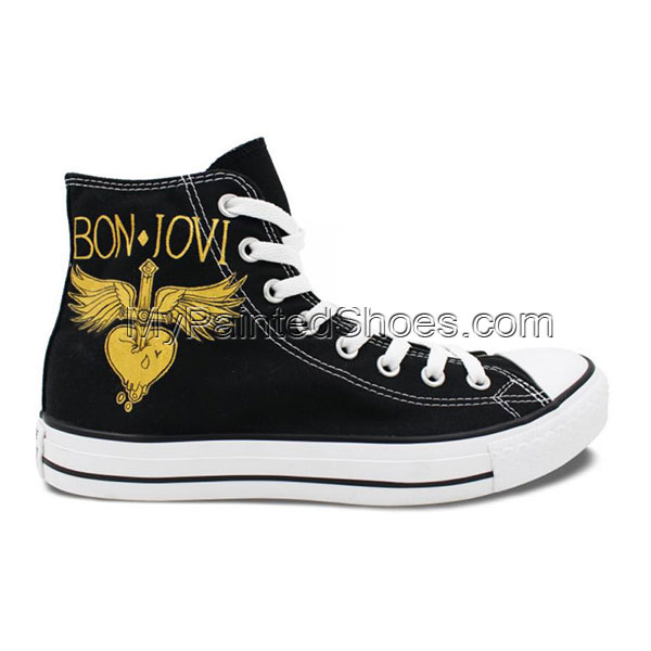 Hand Painted Shoes Man Woman Bon Jovi Design High Top Men Women-1