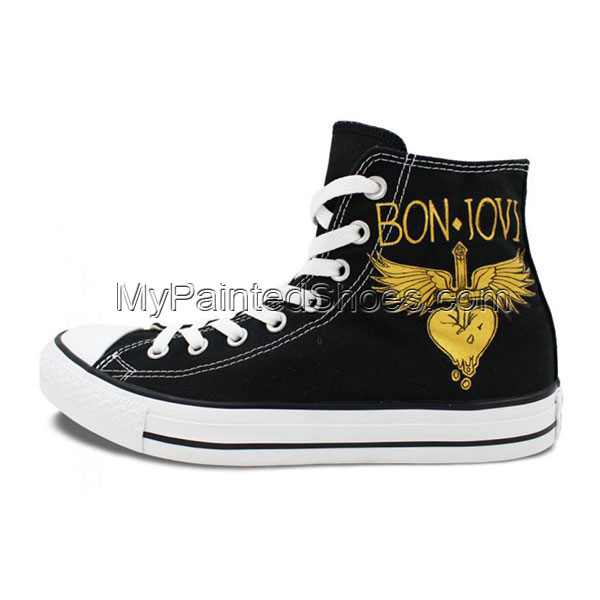 Hand Painted Shoes Man Woman Bon Jovi Design High Top Men Women