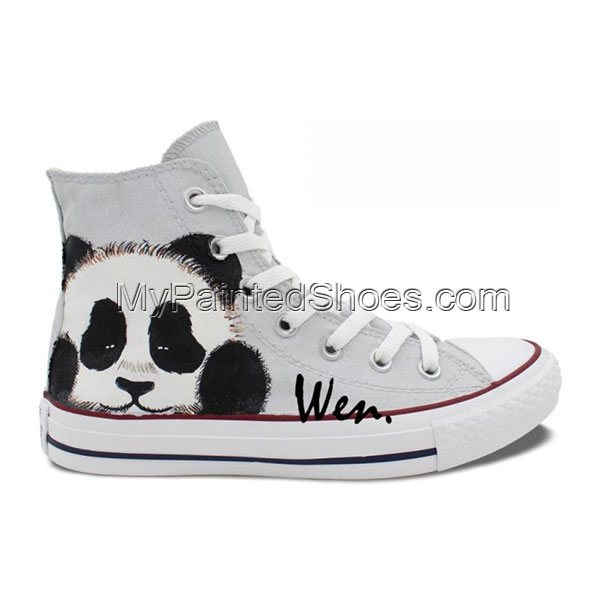 Panda Hand Painted Canvas Shoes-1