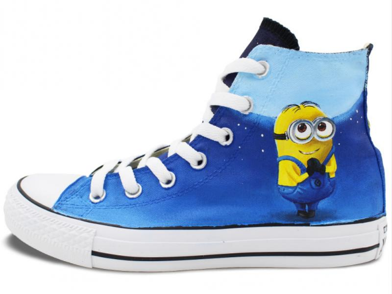 Minions Despicable Me Design Hand Painted High Top Canvas Sneake-1
