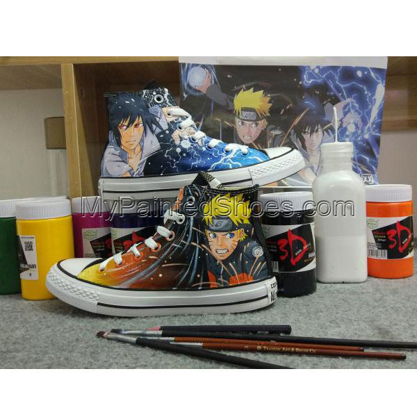 Anime Naruto Custom Design Hand Painted Shoes High Top Black Sne-2