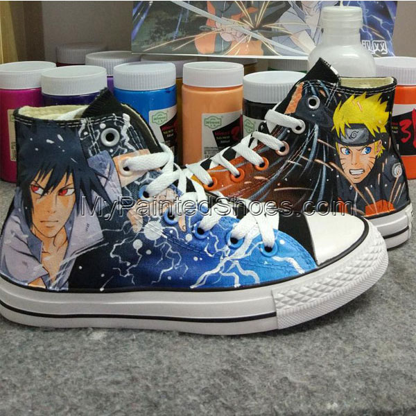 Anime Naruto Custom Design Hand Painted Shoes High Top Black Sne-3
