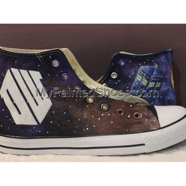Handmade Converse Shoes Doctor Who DW Tardis Galaxy Hand Painted-1