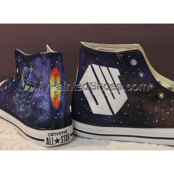 Handmade Converse Shoes Doctor Who DW Tardis Galaxy Hand Painted-2
