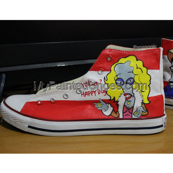 Canvas Shoes Hand Customised Roger American Dad Custom Chuck Tay-4