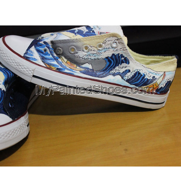 Lowtop Sneakers Custom The Great Wave off Kanagawa Custom Chuck-3