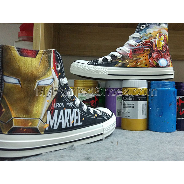 Iron Man Converse Hand Painted Canvas Shoes Hand Customised with-2