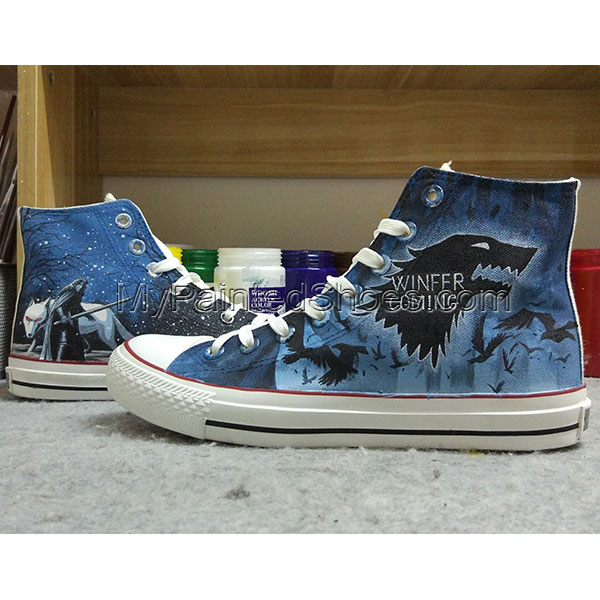 Winter is Coming Converse All Star Design Hand Painted Shoes Men-4