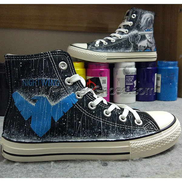 Nightwing Shoes Hand Painted Converse Shoes DC Comics Hand Paint-4