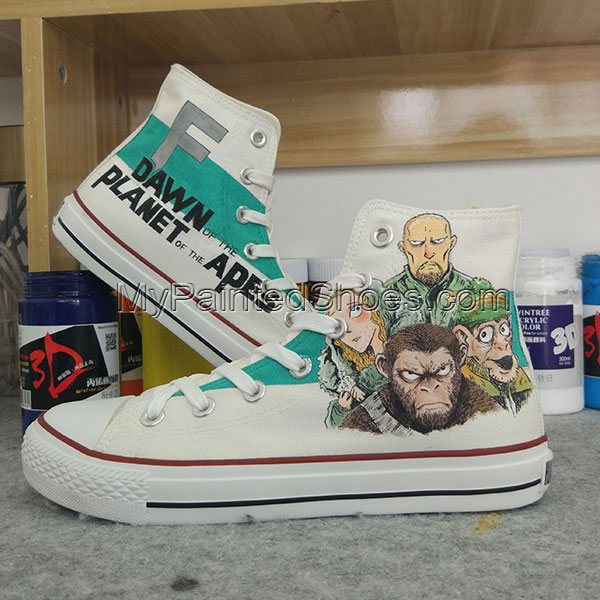 Dawn of the Planet of the Apes Custom Converse Hand Painted Shoe-1