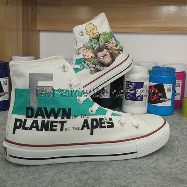 Dawn of the Planet of the Apes Custom Converse Hand Painted Shoe-2