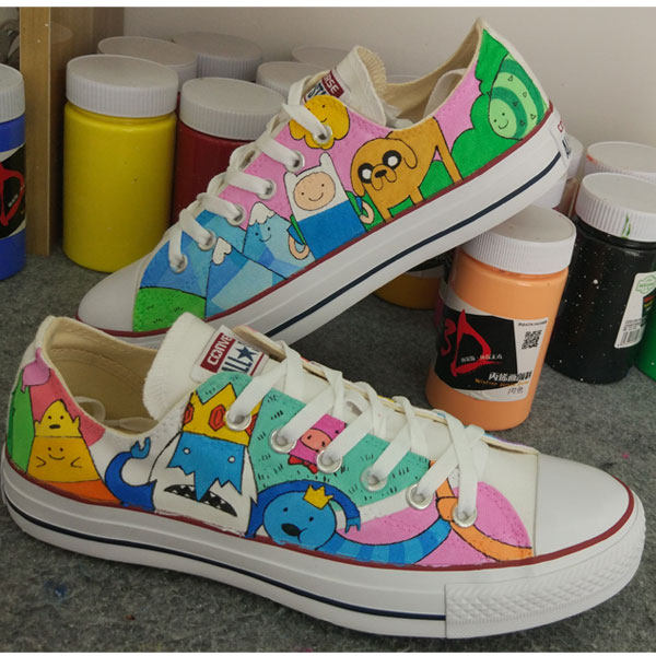 Adventure Time Anime Sneakers Converse Chuck Taylor Design Hand