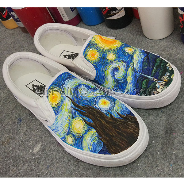 Starry Night VANS Hand Painted Shoes Slip On Design Hand Painted-2