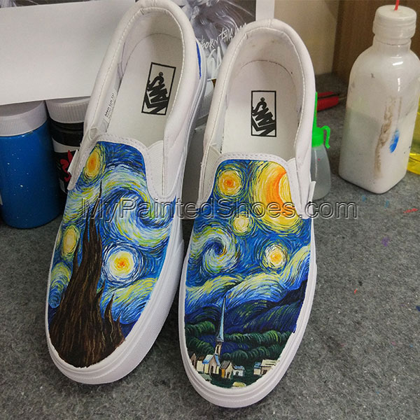 Starry Night VANS Hand Painted Shoes Slip On Design Hand Painted-3