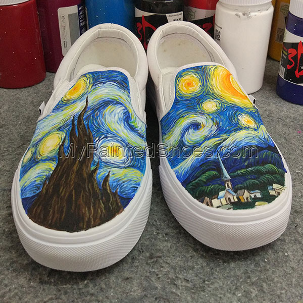 Starry Night VANS Hand Painted Shoes Slip On Design Hand Painted