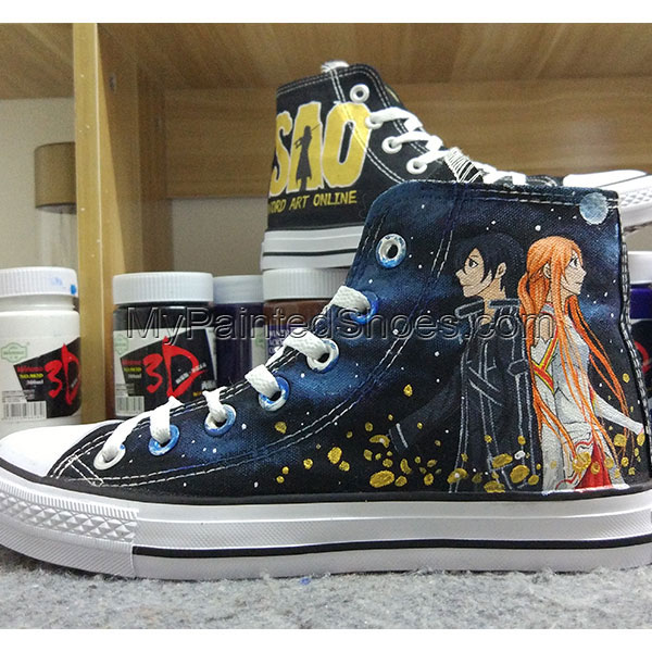 Sword Art Online  Anime Converse Anime SAO Hand Painted Sneakers-1