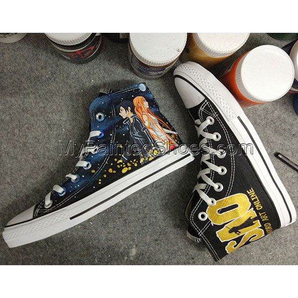 Sword Art Online  Anime Converse Anime SAO Hand Painted Sneakers-3