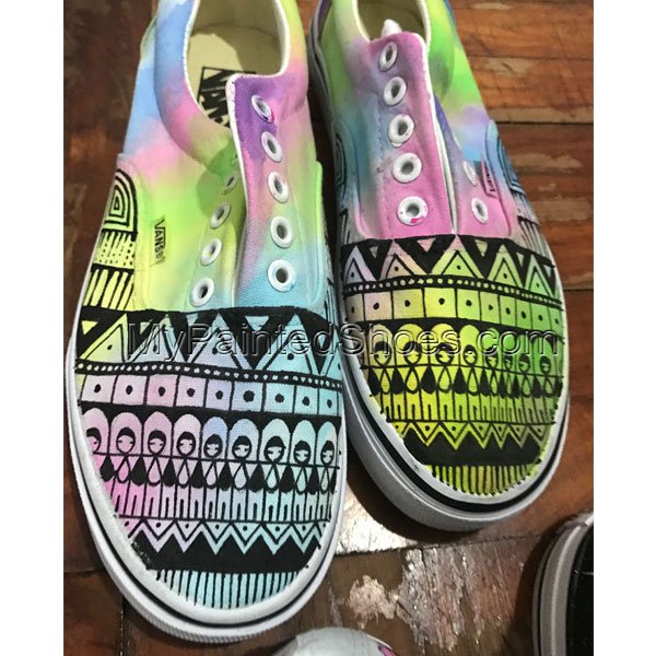 Vans Watercolor Tie Dye Hand Painted Canvas Sneakers Unique Gift