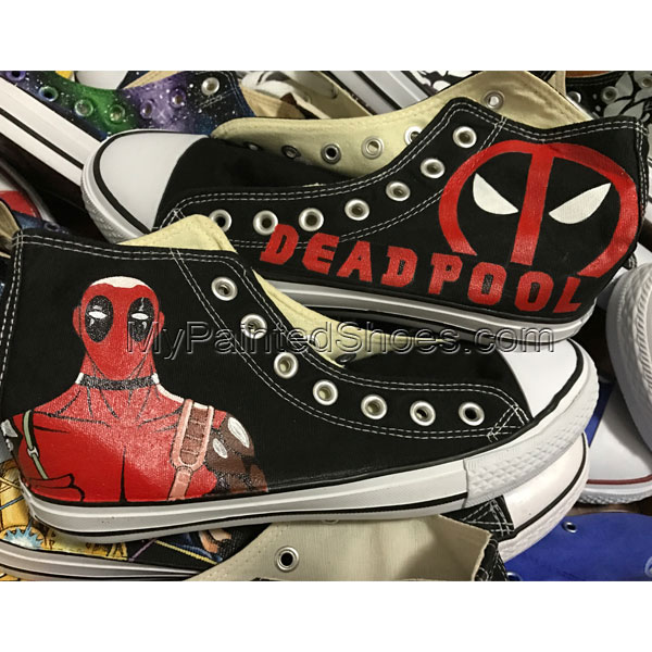 Hand Painted Converse Shoes Deadpool Sneakers