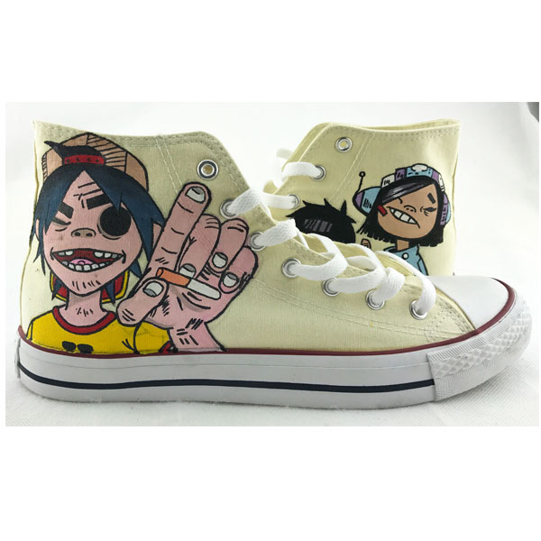 Converse Shoes Hand Painted Gorillaz High Top Fashion Sneakers