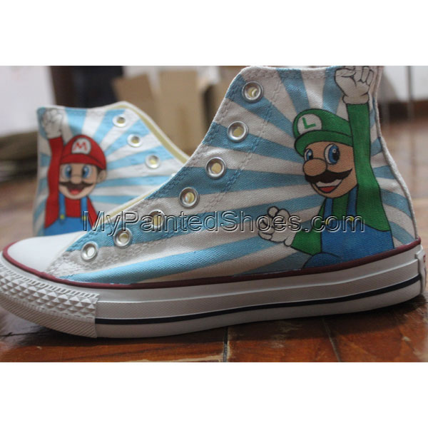 Super Mario Converse Shoes Original Design Hand Painted Canvas S