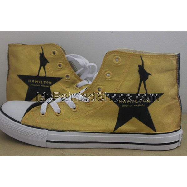 Yellow Color Hand Painted Shoes Design Hamilton Converse