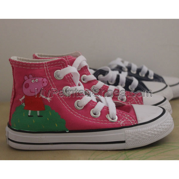 0dfc412237a0 Hand Painted Converse Peppa Pig Hand Painted Sneakers