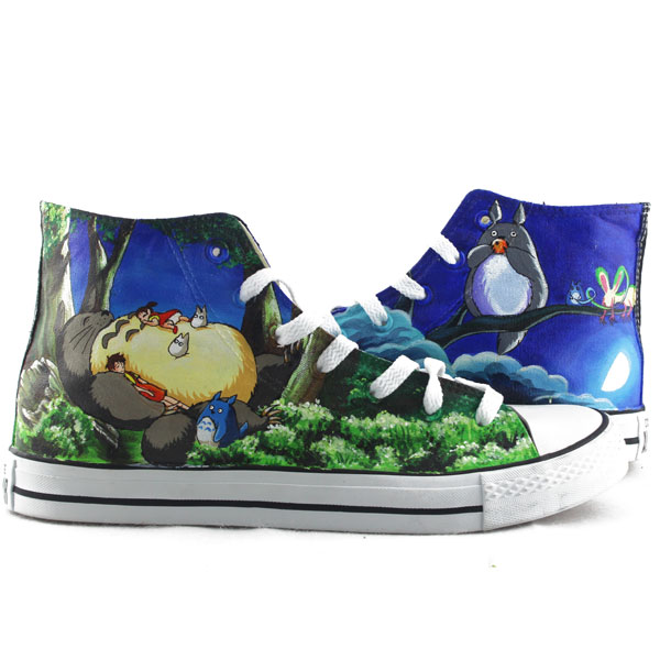 Man Woman My Neighbor Totoro Canvas Sneakers Custom Hand Painted