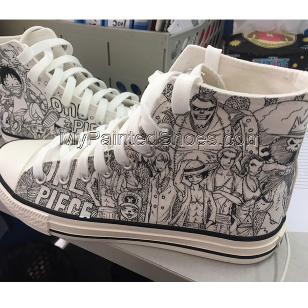 One Piece Anime Hand Painted Sneakers Shoes Online