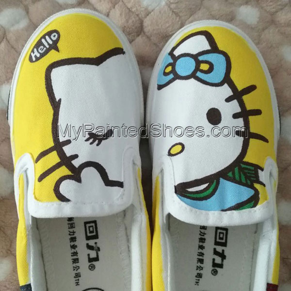 Hello kitty shoes hand painted shoes slipon shoes