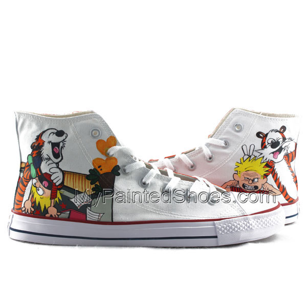 Calvin and Hobbes Men Women Hand Painted High Fashion Canvas Sho
