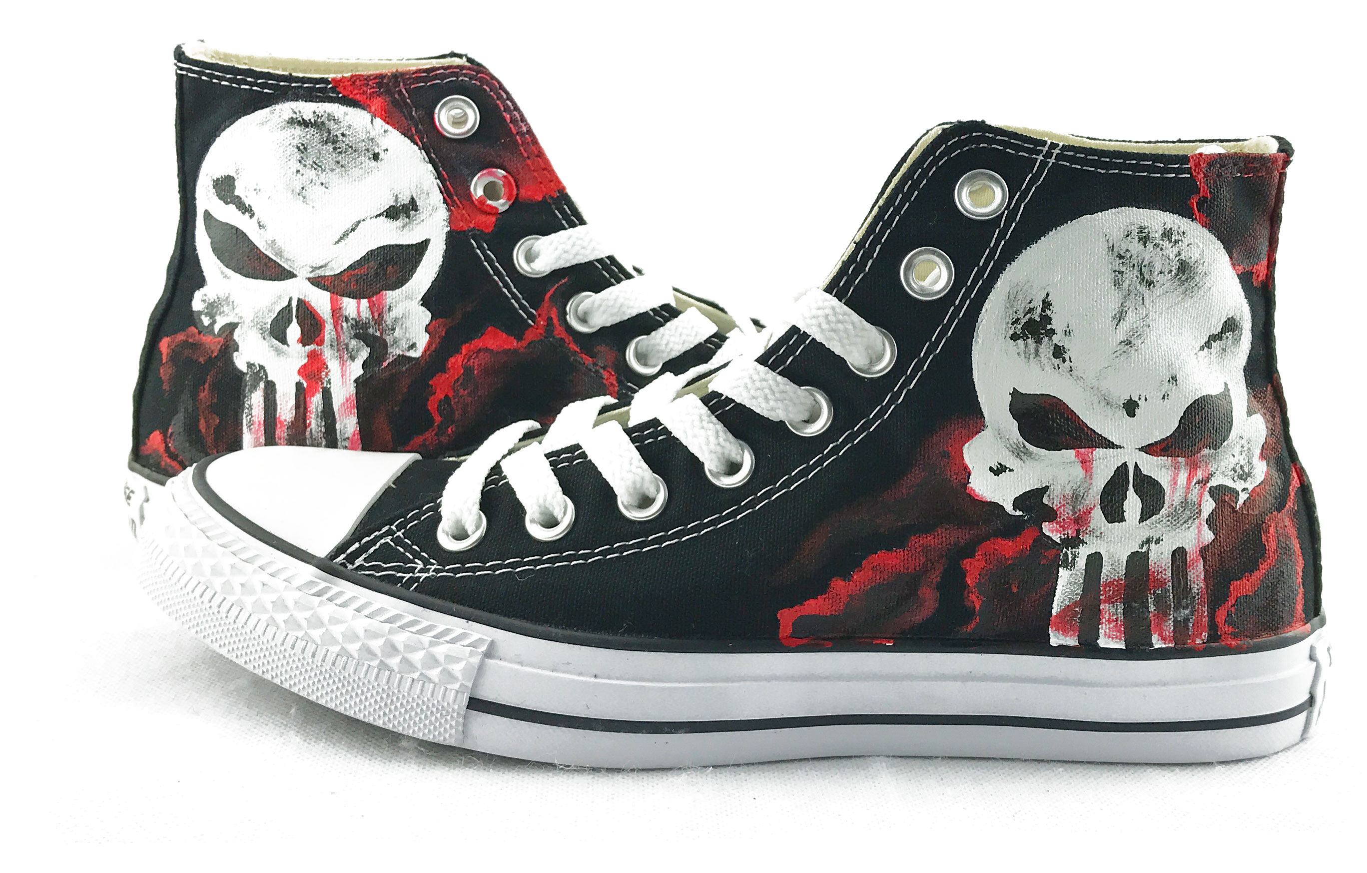 Unique Canvas Shoes The Punisher Skull Hand Painted Mens Black H-2