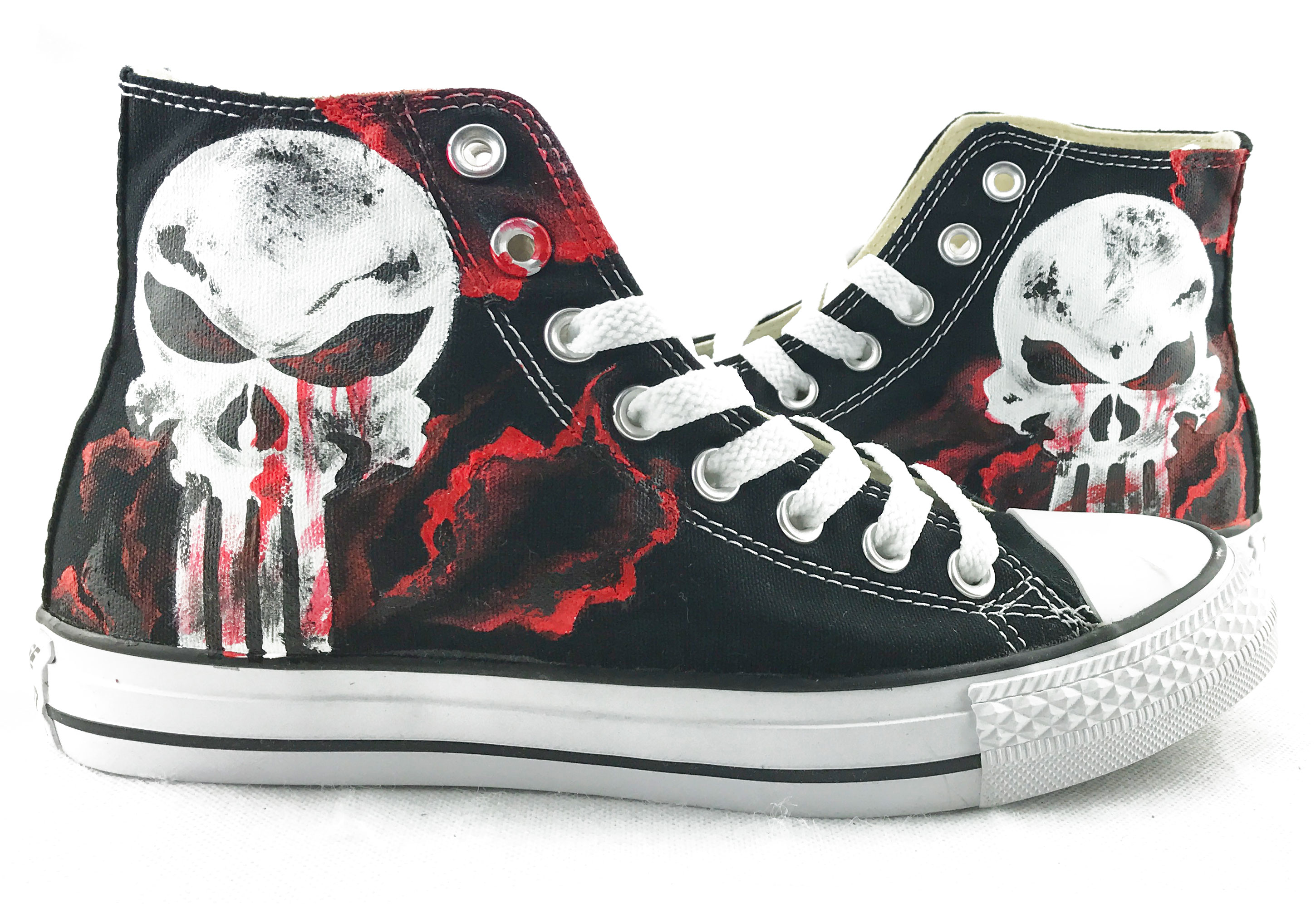 Unique Canvas Shoes The Punisher Skull Hand Painted Mens Black H-3
